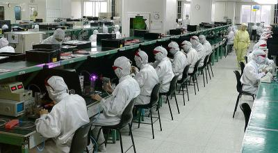 Workers at an electroinic factory in China