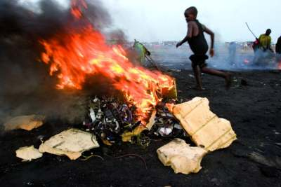 Image: burning electronics