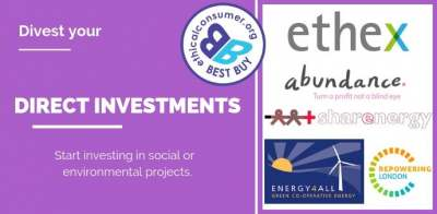 Inforgraphic: divest your direct investments start investing in social or environmental projects ethex abundance sharenergy best buy label