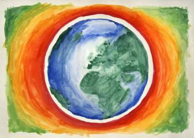 Image: earth painting with rainbow background eco paint