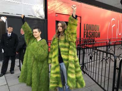 Image: grass jackets extinction rebellion road blocks at london fashion week 2019