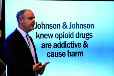 Image: state attorney opening statement at the Johnson and Johnson opioid trial