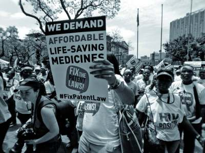 Image: campaigners in South Africa as part of the fic the patent law campaign