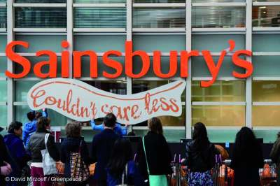 Image: sainsburys couldnt care less campaign by greenpeace