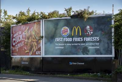 image: billboard fast food fries forests