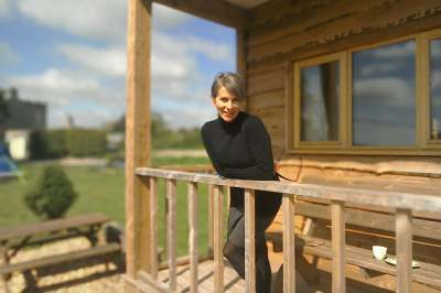 image: rebecca conscious skincare on her porch in wales
