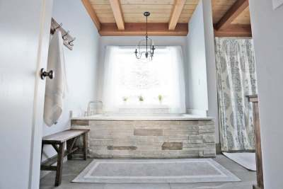 image: ethical bathroom wood features eco friendly furniture