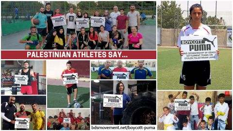 image: collage of palestinian athletes holding cards that say boycott puma