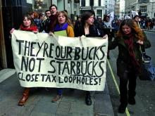 Image: Starbucks protest on tax