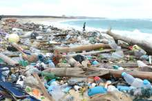 Image: plastic packaging beach