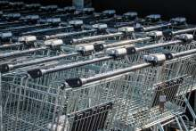 Image: shopping trollies supermarket checkout
