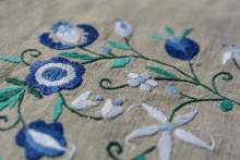 Image: embroidered linen with flowers
