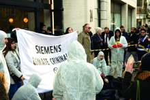 image: extinction rebellion crime scene siemens office london