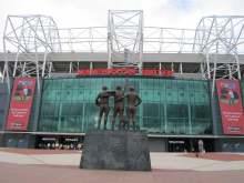 Manchester United football stadium exterior view