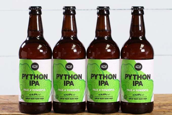 Image: Little valley python IPA ethical pale ale bottles in a row