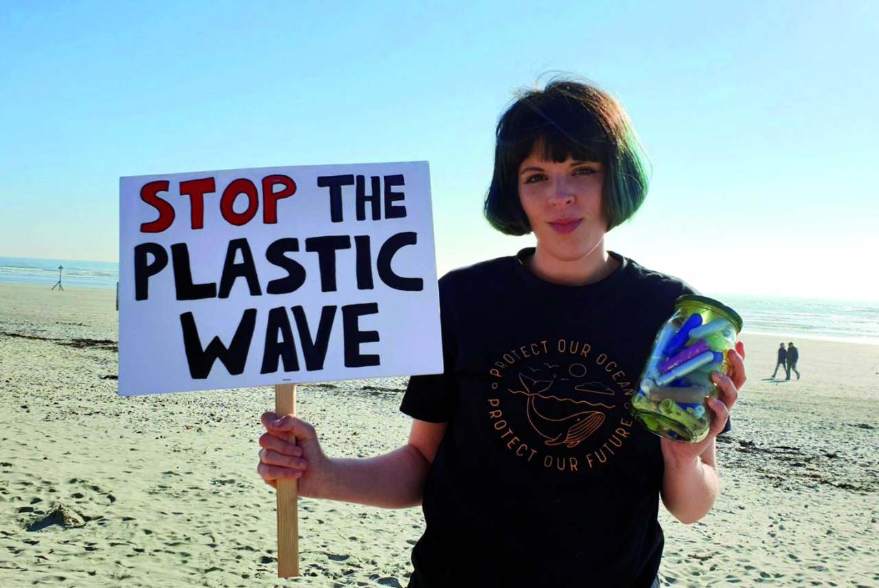 Image: ella daish campaigning for plastic free periods beach