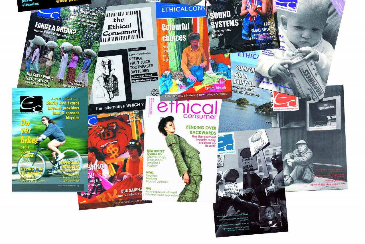 image: collage magazine covers ethical consumer since 1989