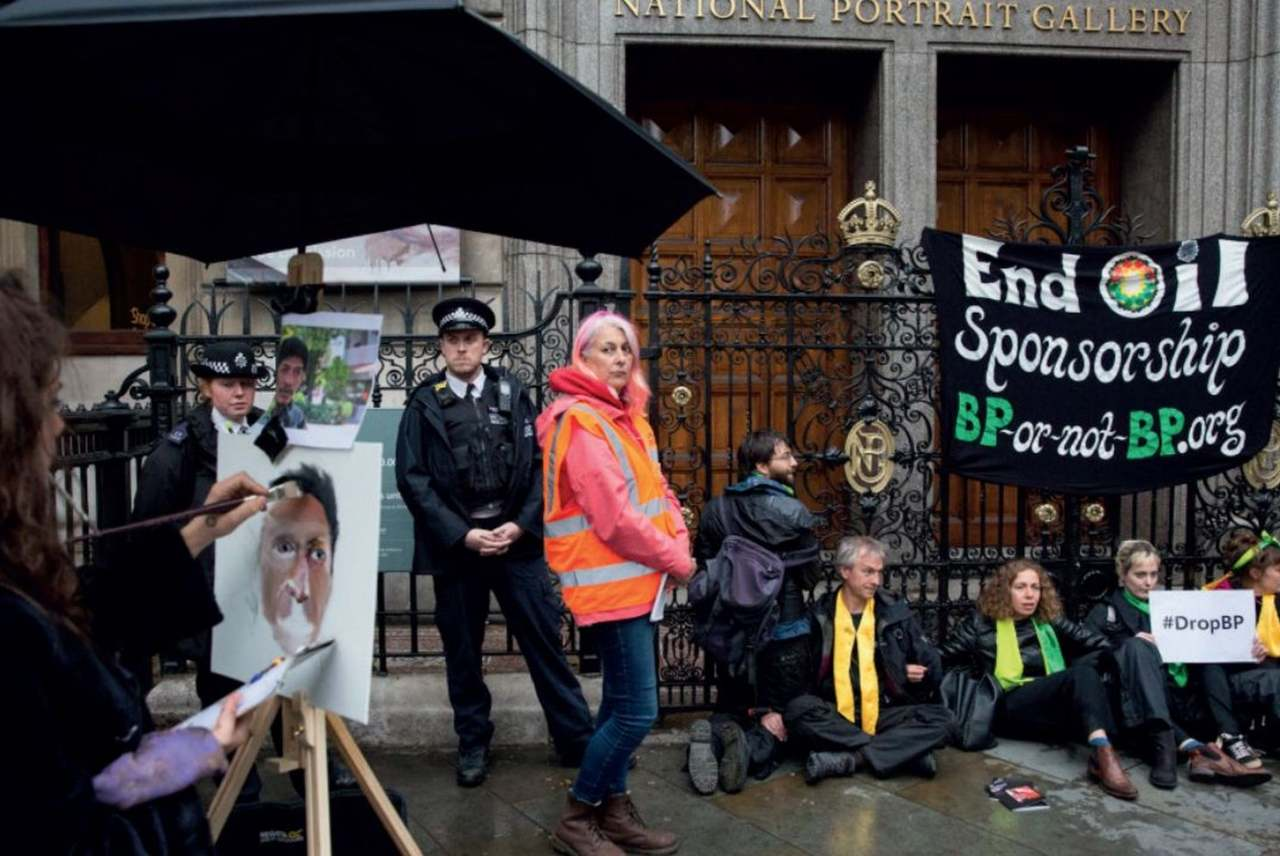 image: activists outside the national portrait gallery BP sponsorship