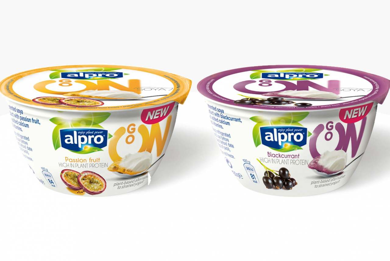 image: two alpro plant based yoghurts owned by dairy company