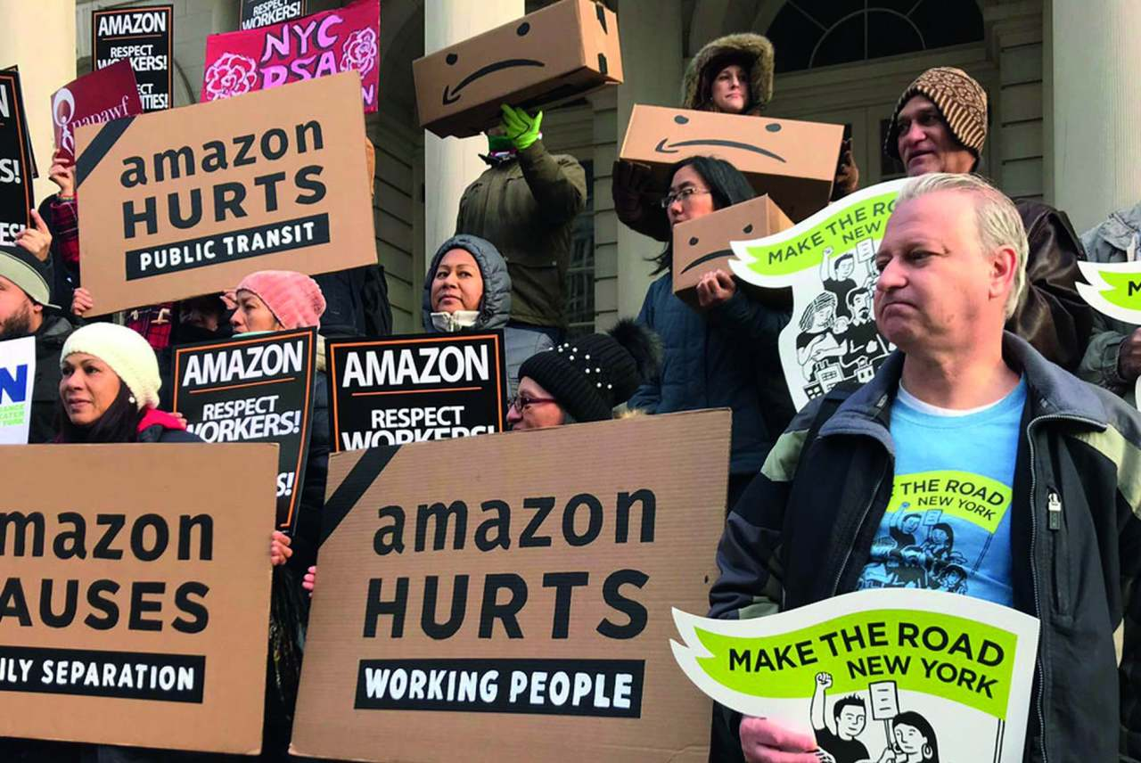 image: amazon protestors amazon hurts working people