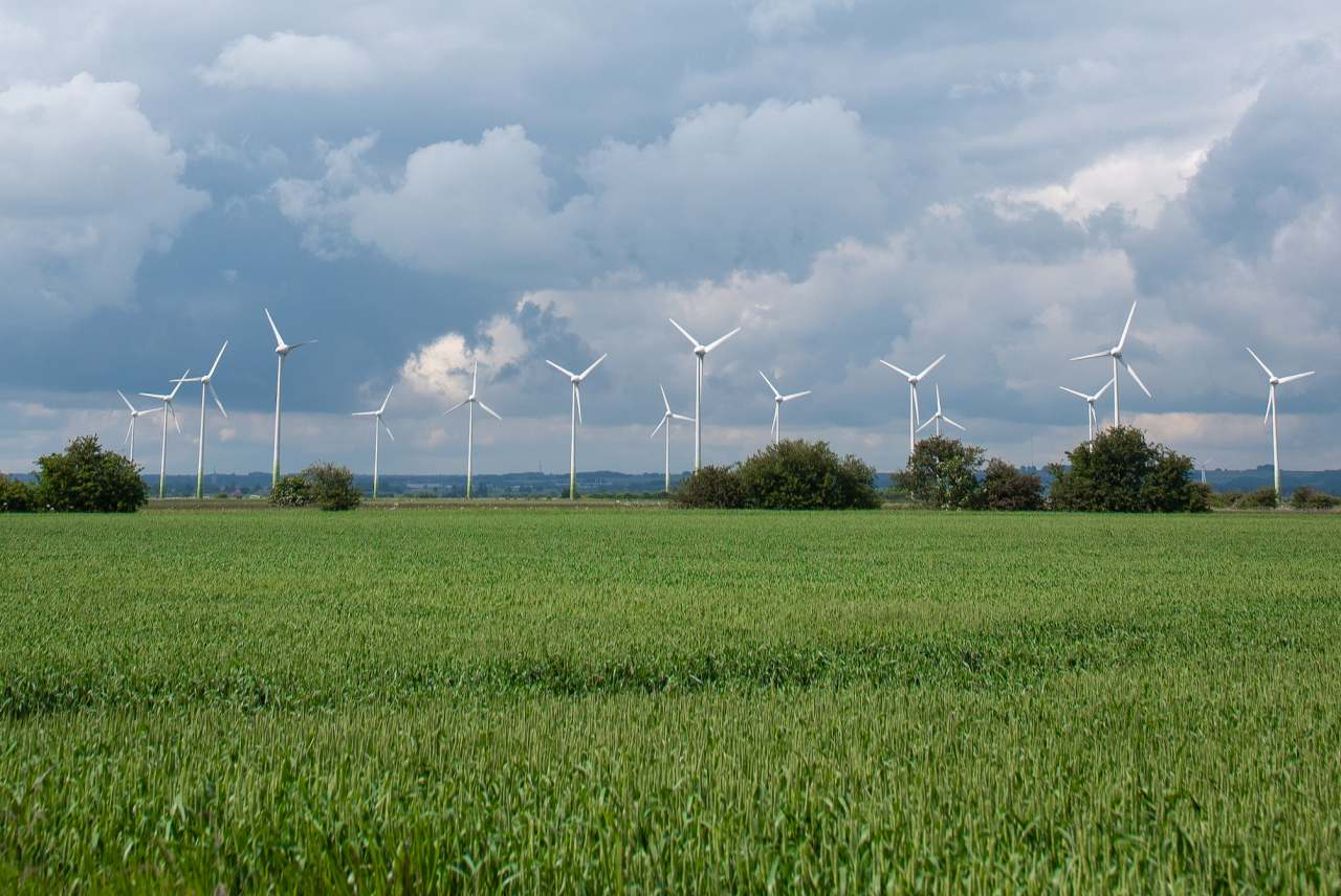 image: ecotricity energy wind turbines in a lush green field