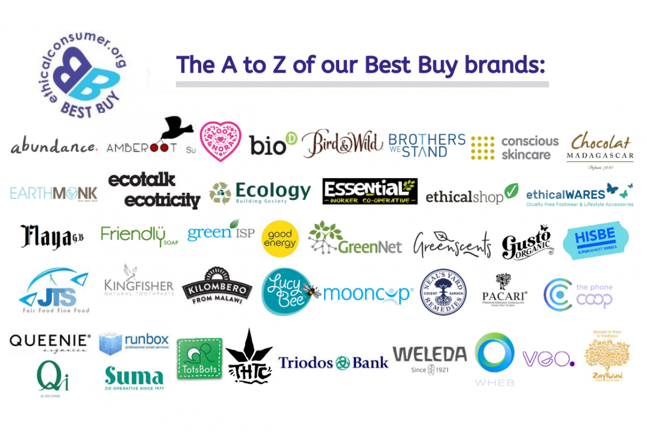 image: logos of all ethical consumer best buy brands
