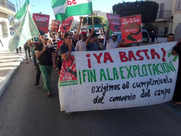 Image: protest banner workers rights almeria spain