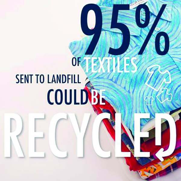 infographic: almost all textiles and clothes sent to landfill could be recycled